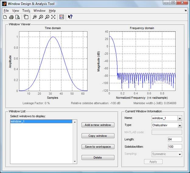 Signal Processing Toolbox: Window Design and Analysis Tool